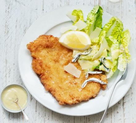 Chicken schnitzel Caesar