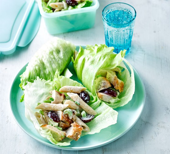 Chicken and pasta salad served in lettuce cups