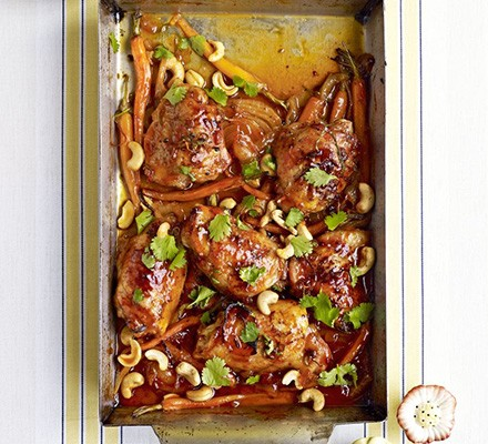 Sticky citrus chicken with carrots & cashews