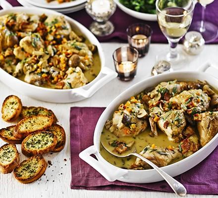 Chicken & cider fricassée with parsley croûtes