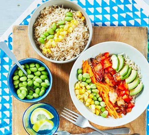 Chicken and colourful veg bowls