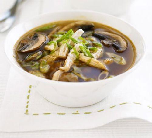Shredded chicken recipes: Thai chicken & mushroom broth