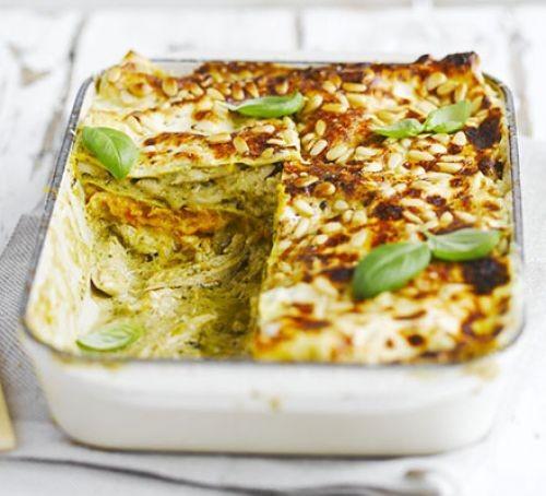Chicken, squash and pesto lasagne in a casserole dish
