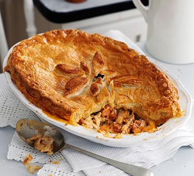 Chicken pie in white dish