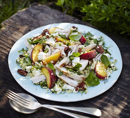 Herbed chicken, peach & feta salad