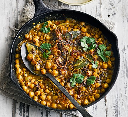 Chickpea & coconut dhal served in a casserole dish