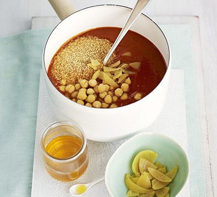 Moroccan chickpea soup in a pan