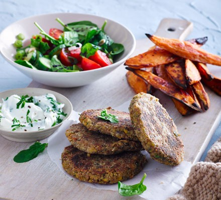 Chickpea & nut burgers with sweet potato chips