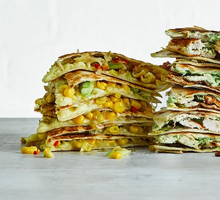 A stack of chilli corn & spring onion quesadilla
