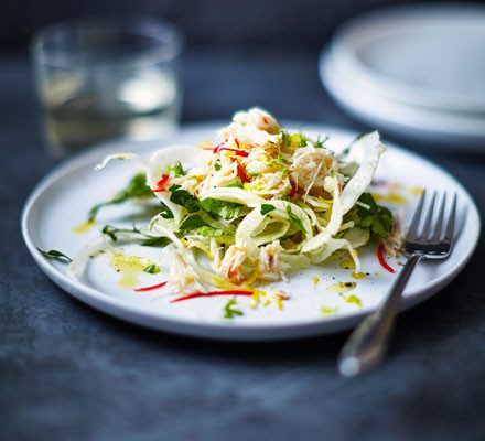 Chilli crab with shaved fennel & parsley salad