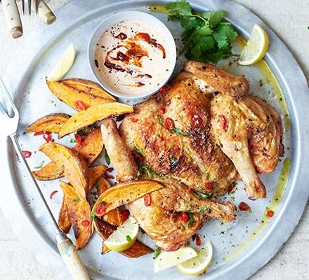 Chilli, garlic & oregano spatchcock chicken with chipotle aïoli on a plate