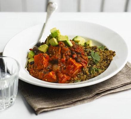Sweet potato & black bean chilli with zesty quinoa