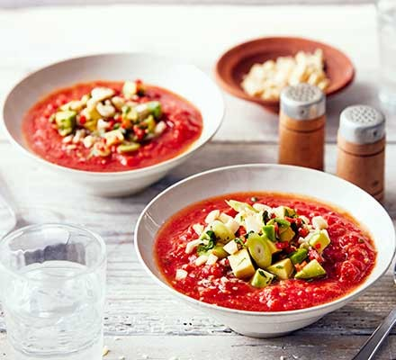 Chipotle gazpacho in two bowls