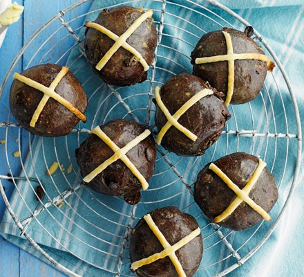 Double choc hot cross buns