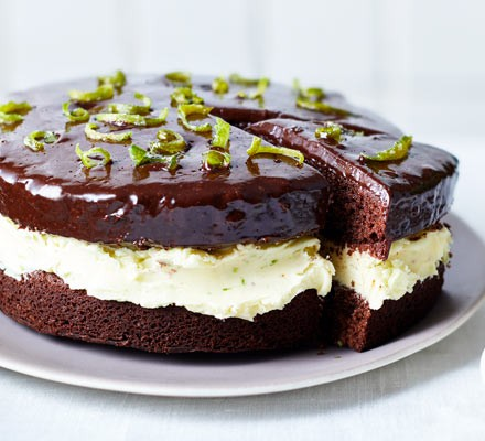 Chocolate & lime cake on a platter