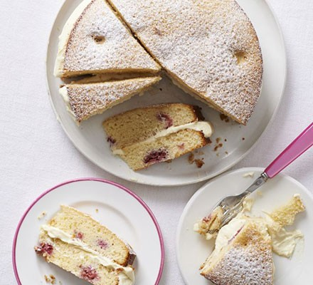 John's white chocolate & raspberry cake