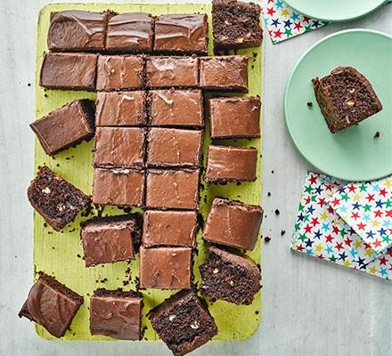 Chocolate chip traybake cut into squares