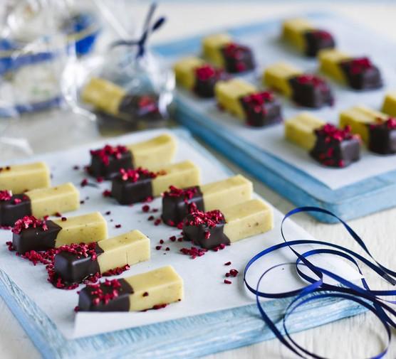 Chocolate-dipped cardamom fudge