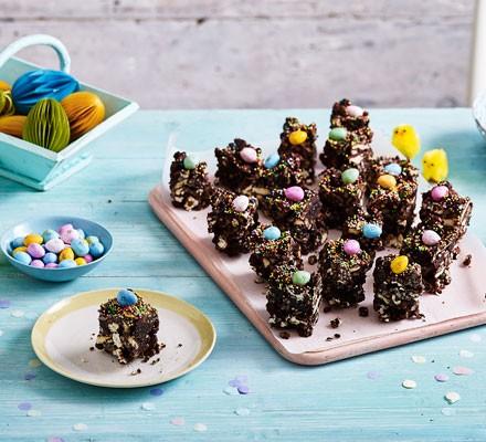 Chocolate fridge cake with chocolate eggs