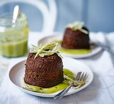 Chocolate lime fondants with candied lime peel