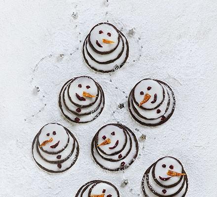 Chocolate snowmen biscuits