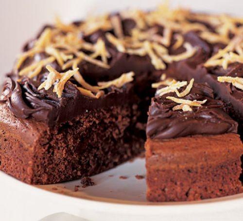 Chocolate and orange cake with chocolate icing and orange peel