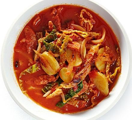 Chorizo & cabbage stew