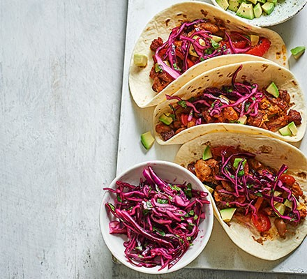 Three chorizo & red cabbage tacos
