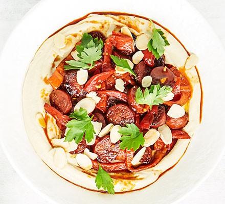 Hummus with chorizo & red pepper