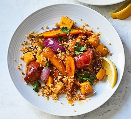 Chorizo & root veg bulgur wheat served on a plate