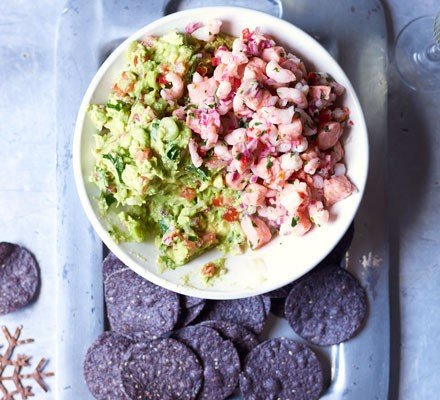Christmas ceviche with guacamole