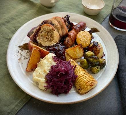 Christmas dinner on plate