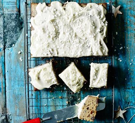 Christmas white chocolate traybake