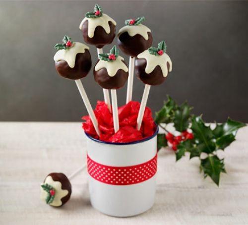 Christmas truffle recipes: Christmas pudding cake pops