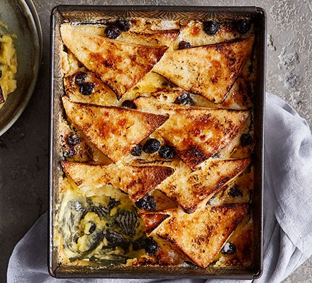 Classic bread & butter pudding served in a baking dish