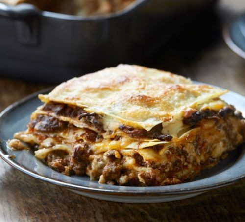 Beef Lasagne square on a plate
