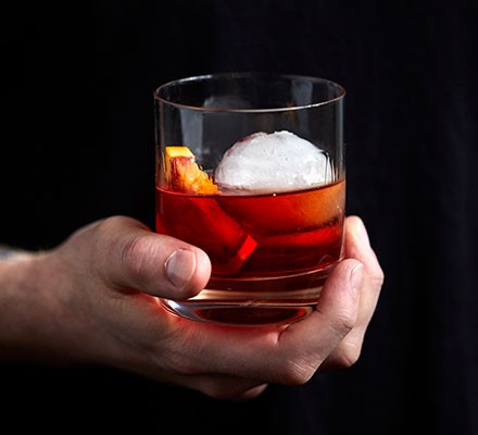 Classic negroni served in a tumbler glass