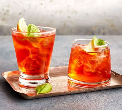 Pink negroni in glasses