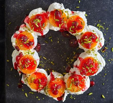 Clementine, cranberry & pistachio meringue wreath