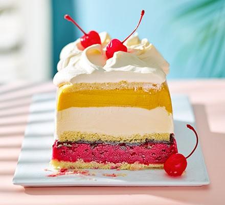 A dessert plate serving Club Tropicana ice cream cake