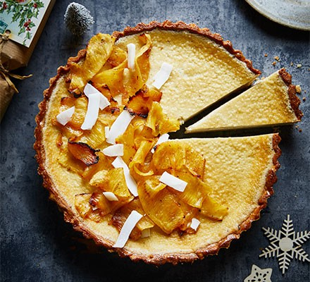 Coconut Custard Tart With Roasted Pineapple Recipe Bbc Good Food