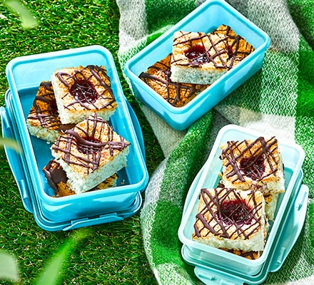 Coconut Jam Macaroon Traybake Recipe Bbc Good Food