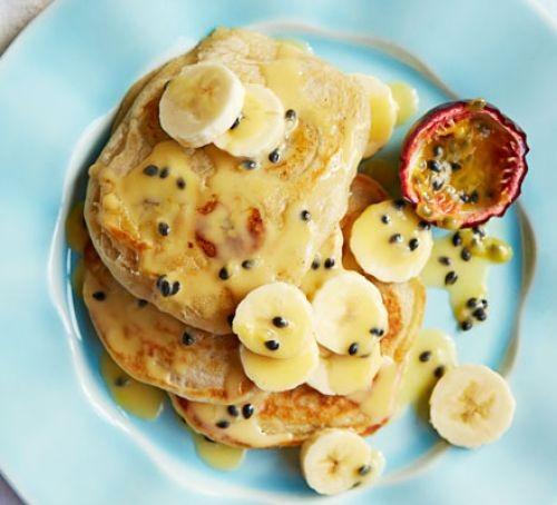 Vegan coconut pancakes with banana slices