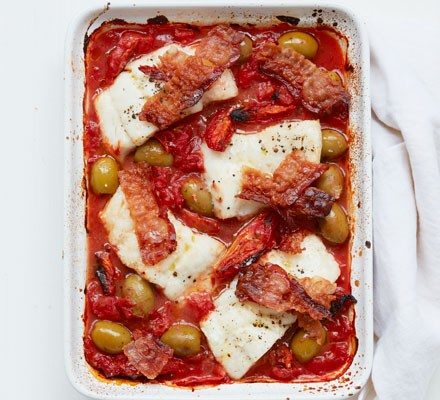 Cod with olives & crispy pancetta