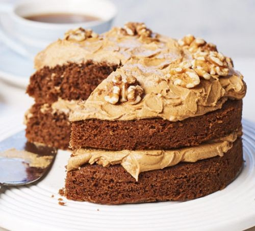 Coffee cake with slice taken