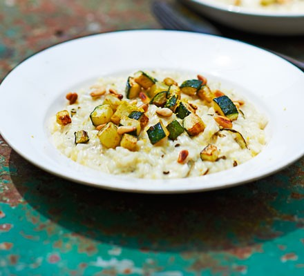 Courgette risotto in bowl