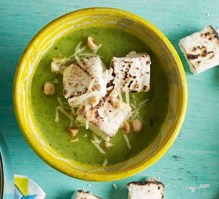 Courgette soup with parmesan and burnt chilli marshmallow