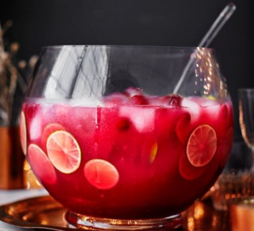 Bowl of cranberry punch with whole fruit pieces