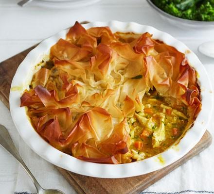 Filo chicken pie in dish