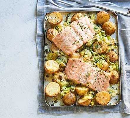 A creamy salmon, leek & potato traybake